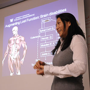 Yoky Matsuoka, computer science and engineering, lectures about her research in robot-controlled artificial limbs.