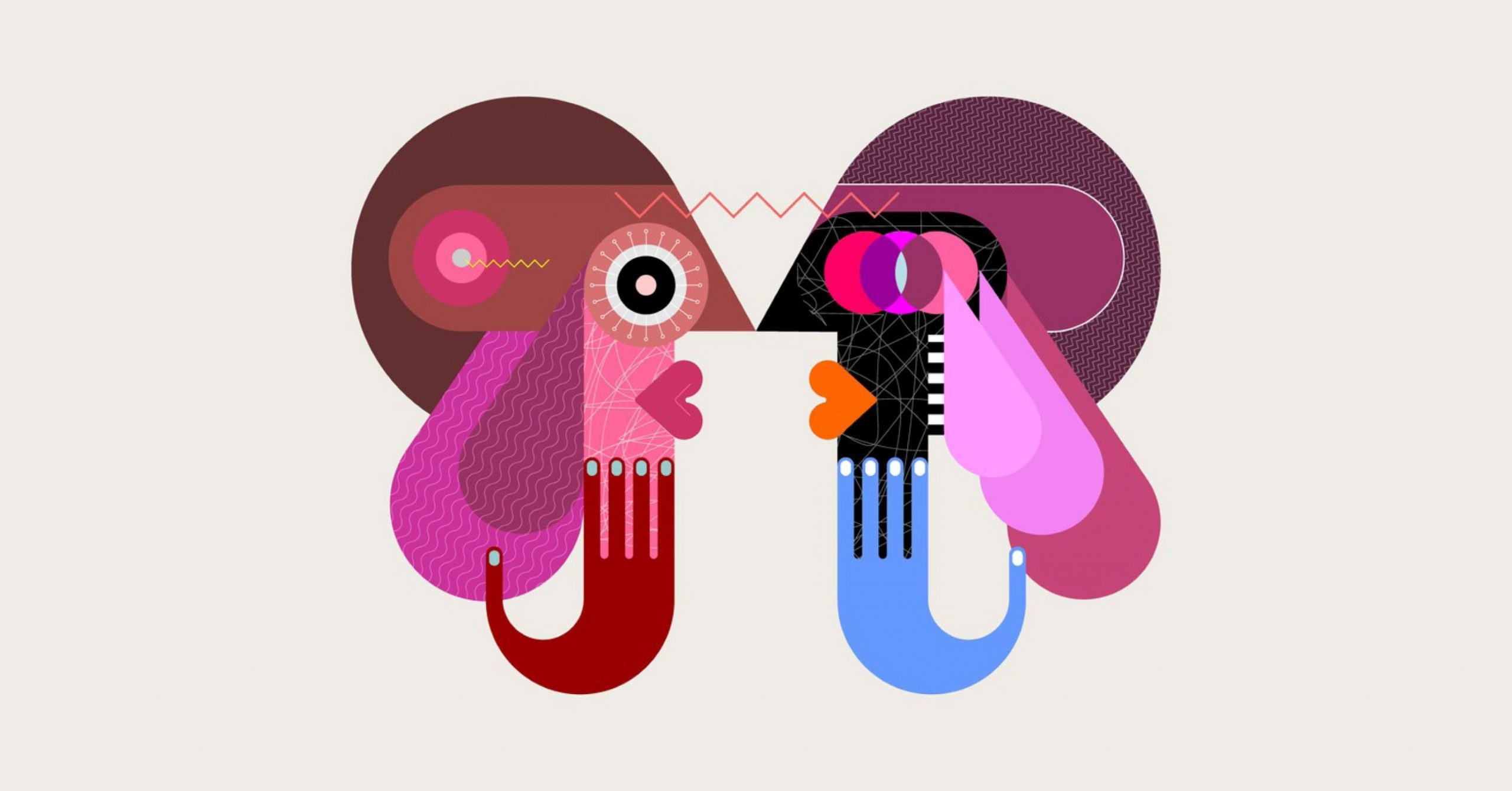 cubist style illustration of two people talking to each other