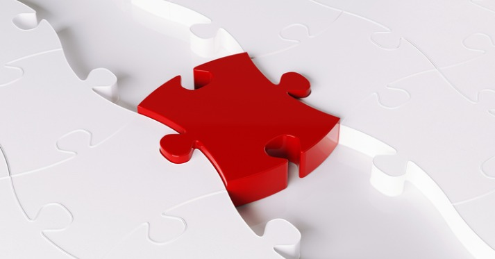 3d render of a red jigsaw puzzle forming a bridge between white puzzles