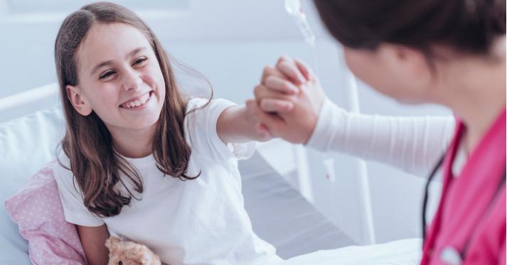 Smiling girl at hospital